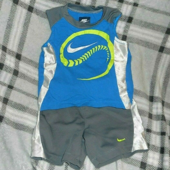 Nike Other - Boys 18MOS NIKE Tank Top Shorts Outfit Gray Blue
